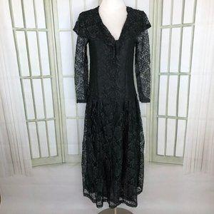 Jasmine Fit Flare Ankle Dress Sequin Trim Lace